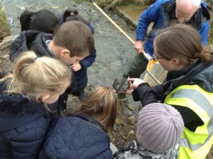 Our Education and Engagement Officer Emily showing the children some of our river inhabitants