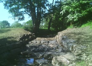 The rock ramp which has replaced the old weir