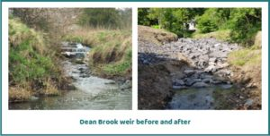 Dean Brook weir before and after