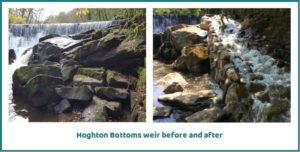 Houghton Bottoms weir before and after