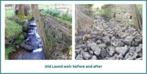 Old Laund weir before and after