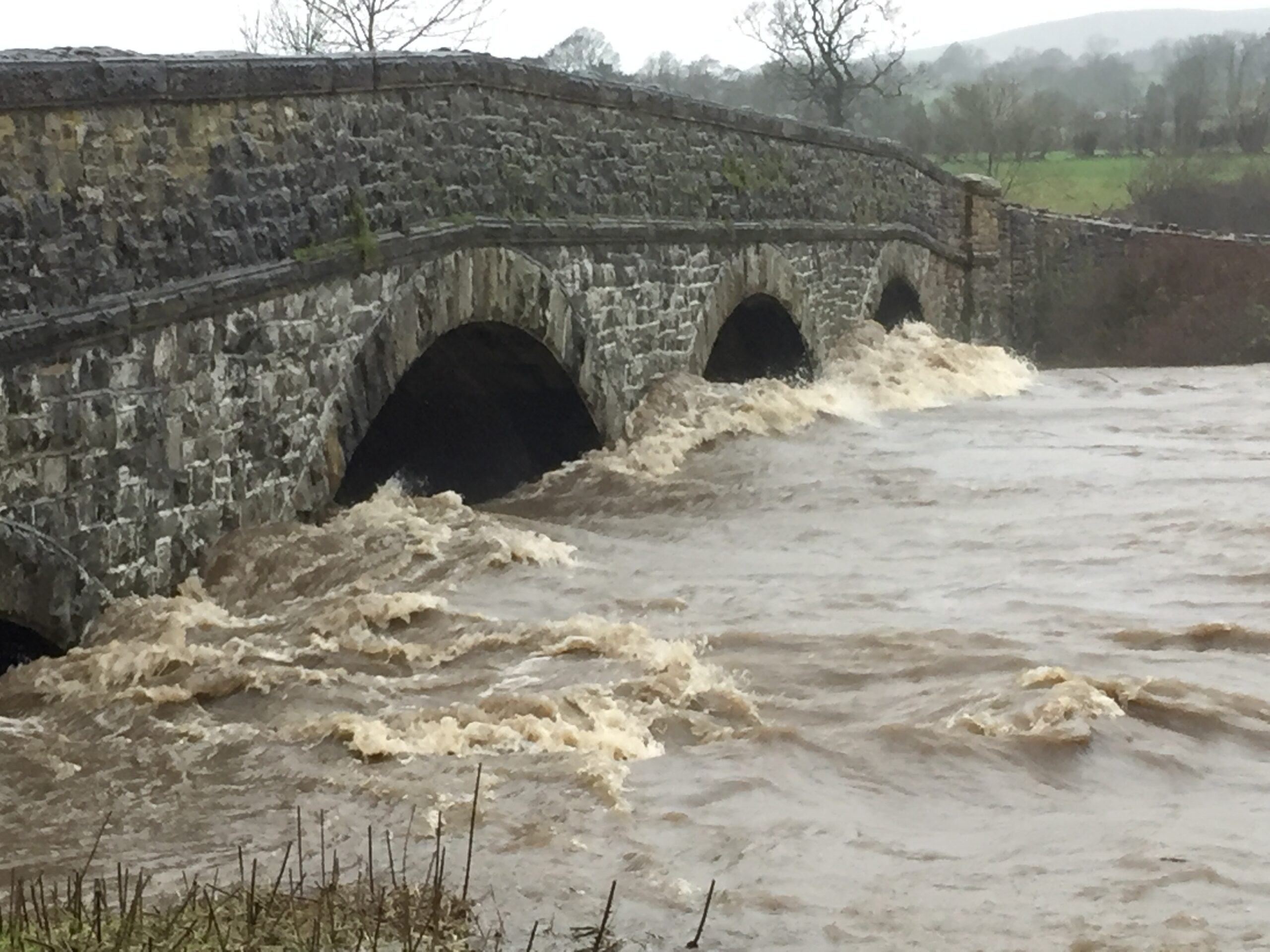 Rlibble in flood at West Bradford Bridge